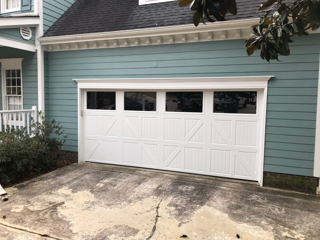 single long garage door on green house in Raleigh NC