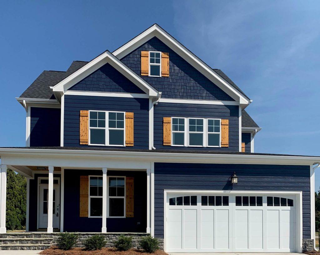 brown overlay white garage door