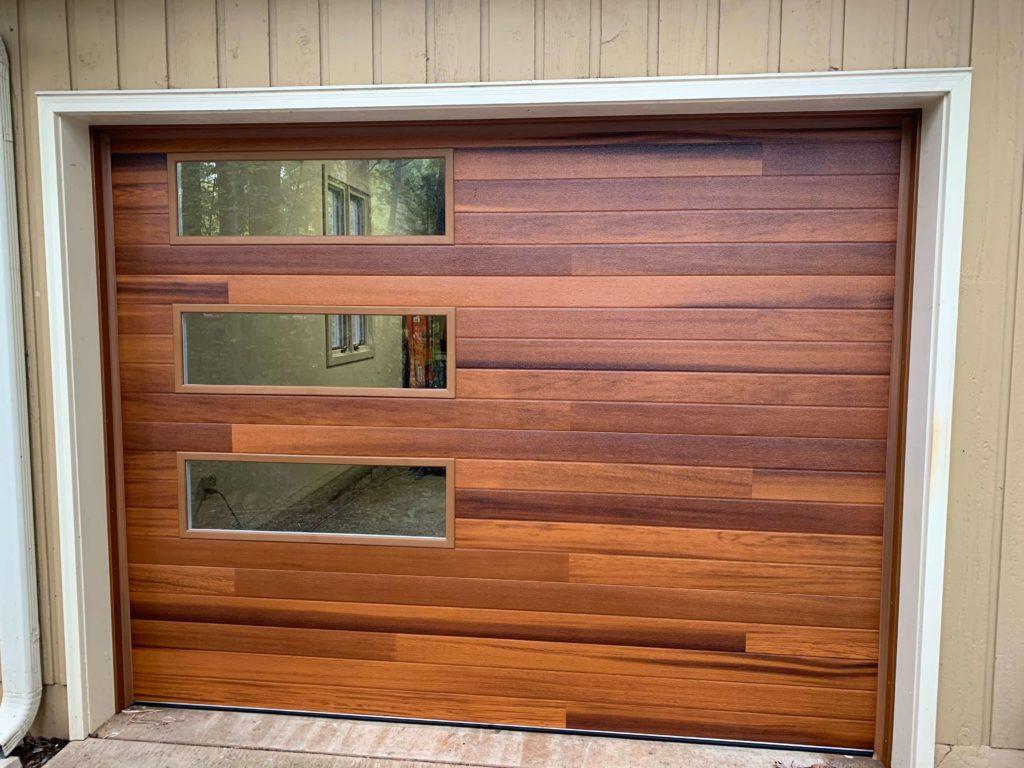 cedar wood tones garage door