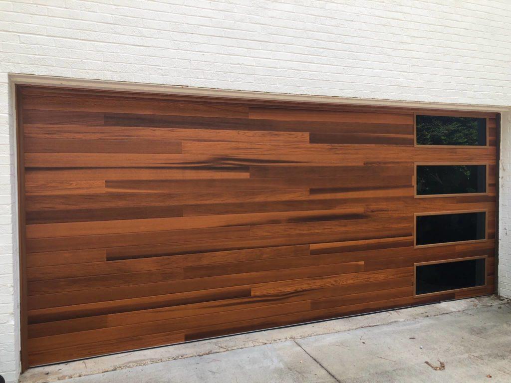 double plank wood tones garage door