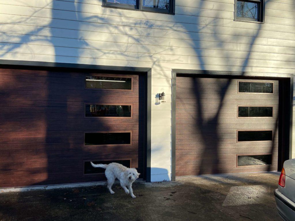 garage door with mahogany planks