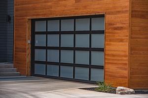 full view garage door with black frame