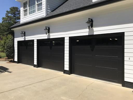 black long recessed panel garage door